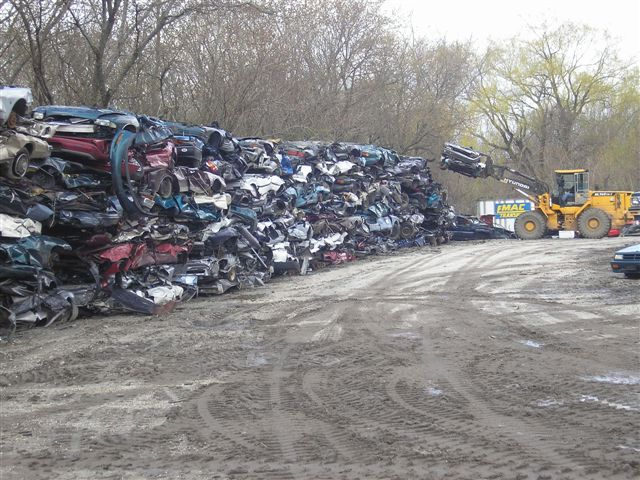 Great Wall of crushed cars
